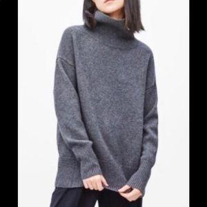 Aritzia Cashmere Blend Grey Roll Neck Sweater